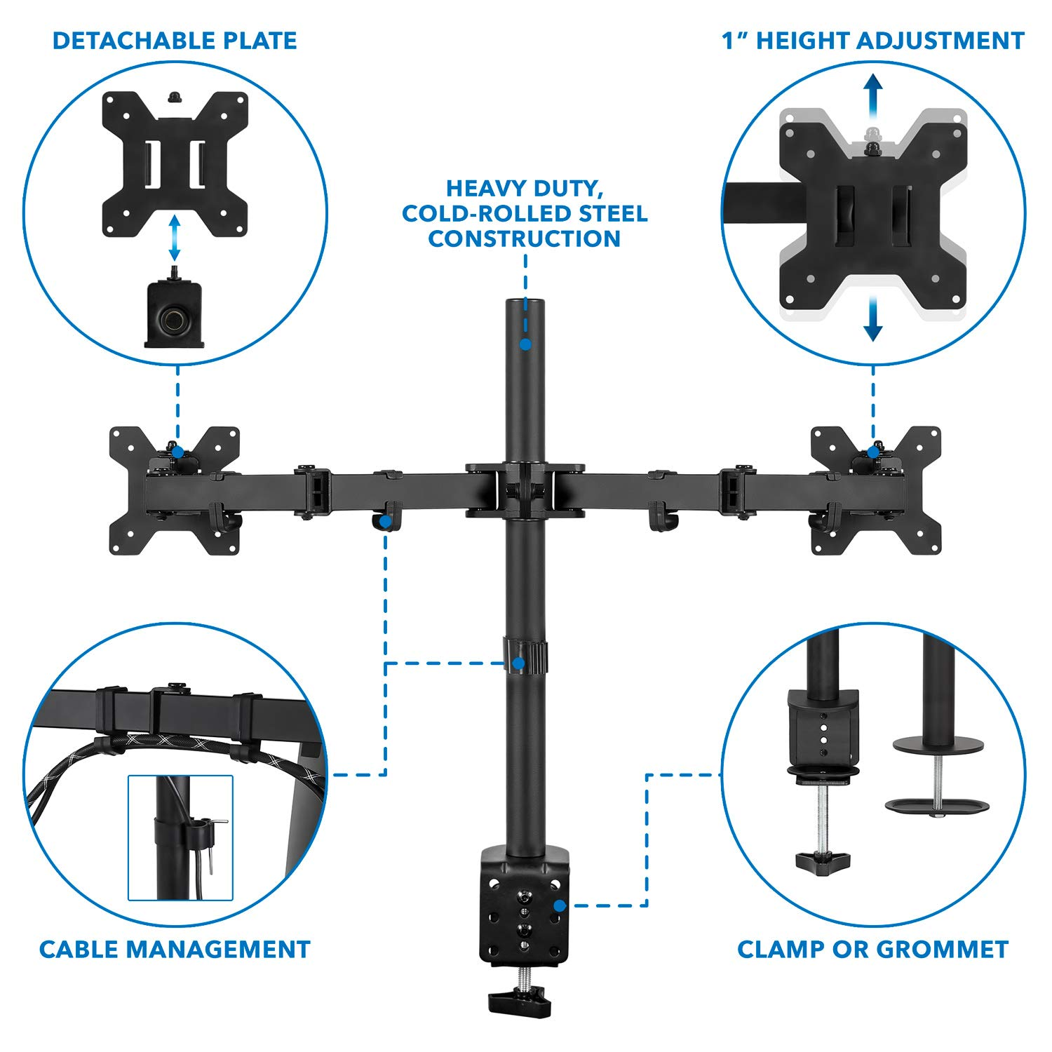 "Manhattan Universal Dual Monitor Mount with Double-Link Swing Arms - Holds Two 13"" to 32"" LCD Monitors up to 8 kg (17 lbs.), Black, Retail Box, Limited Lifetime Warranty"