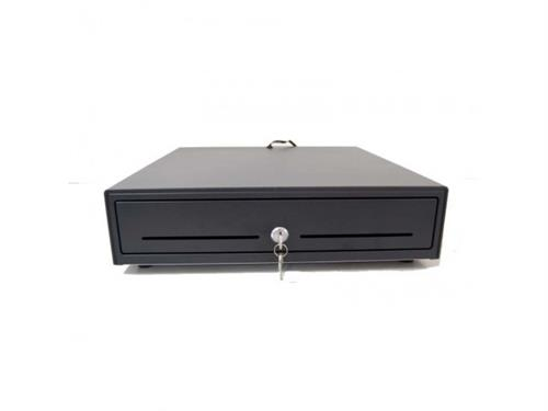 Maken VK-4101 Cash Drawer - Black, RJ11 / RJ12 Printer Kick Interface, Adjustable Bill (4) & Coin (8) Compartments, 1.5m Detachable Cable, 3 Position Integrated Keylock, Media Slot, Economical Heavy Duty Guage SteelDimensions: 410mm(W) x 420mm(D) x 100m, Retail Box , 1 year Limited Warranty