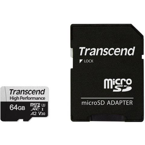 TRANSCEND 330S 64GB MICRO SD HIGH PERFORMANCE  UHS-I  U3 V30 A2 CLASS10 - READ 100 MB/S - WRITE 85MB/S - WITH SD ADPTOR - TLC