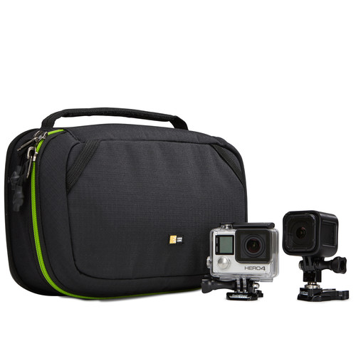 Case Logic Kontrast Water Resistant DuraBase Action Cam Case-Compatible with up to 2 action cameras, such as GoPro, plus accessories , Water-resistant DuraBase offers protection and stability from the ground up , Protect camera by separating accessories with adjustable, padded divider wall , Organization panel provides flexible storage for cords, mounts, goosenecks and other small accessories , Removable zippered pouch keeps small pieces safe and accessible , Dual zippers on main compartment designed to fit a luggage lock for extra security , Convenient carrying handle ,High visibility lining provides contrast to quickly spot accessories-Black, Retail Box, 1 year Limited Warranty
